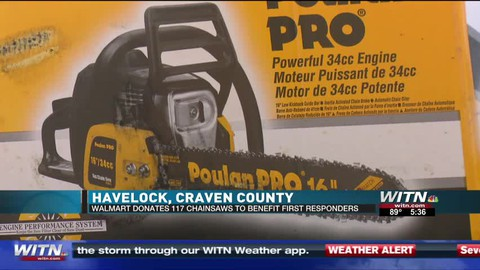 Havelock Walmart donates chainsaws to first responders